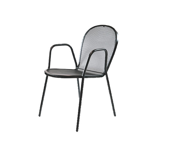 Contemporary Outdoor Stacking Chair with Steel Frame