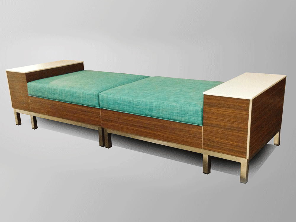 Modular Backless Bench With Tables